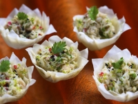 crab ginger and lime filo tartlets