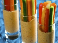 crudites with a red pepper and feta dip