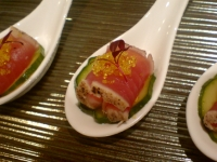 seared tuna and pickle on a chinese spoon